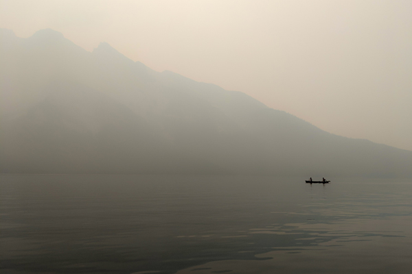 Smoke on the water: finding hope in the face of climate change, reflecting on a hazy day.
